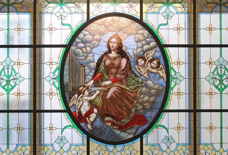 Λεκιασμένο γυαλί Αγίου Cecilia, θερμοκήπιο της Μόσχας στοκ φωτογραφία