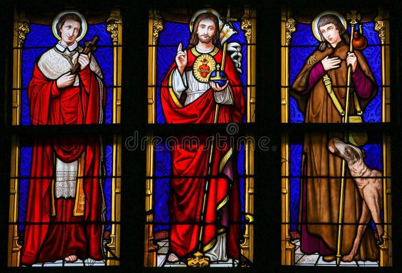 Λεκιασμένο γυαλί - Ιησούς Χριστός, Άγιος Roch και Άγιος Charles Borro στοκ φωτογραφίες με δικαίωμα ελεύθερης χρήσης