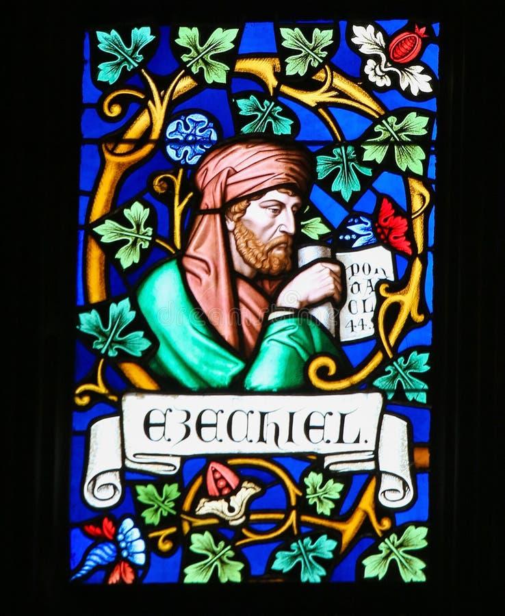 Λεκιασμένο γυαλί - ο προφήτης Ezekiel στοκ εικόνα