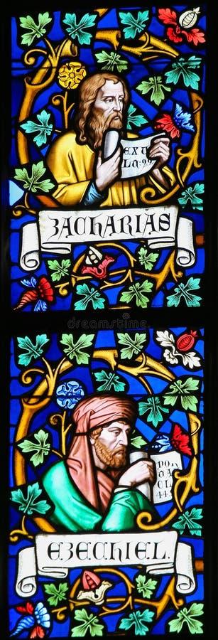 Λεκιασμένο γυαλί - προφήτες Zechariah και Ezekiel στοκ φωτογραφία με δικαίωμα ελεύθερης χρήσης