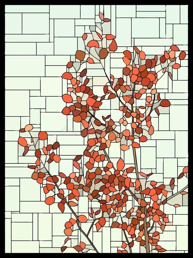 Λεκιασμένο διάνυσμα παράθυρο γυαλιού με τα κόκκινα φύλλα ενός δέντρου ελεύθερη απεικόνιση δικαιώματος