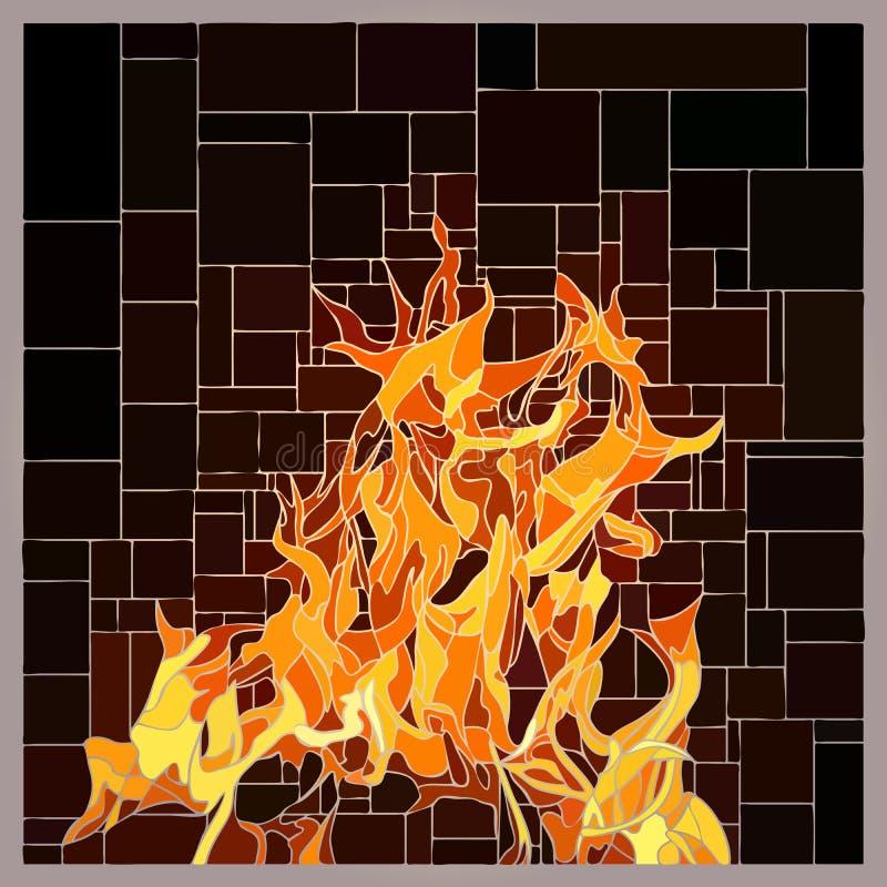 Λεκιασμένο διάνυσμα παράθυρο γυαλιού με τη φλόγα πυρκαγιάς απεικόνιση αποθεμάτων