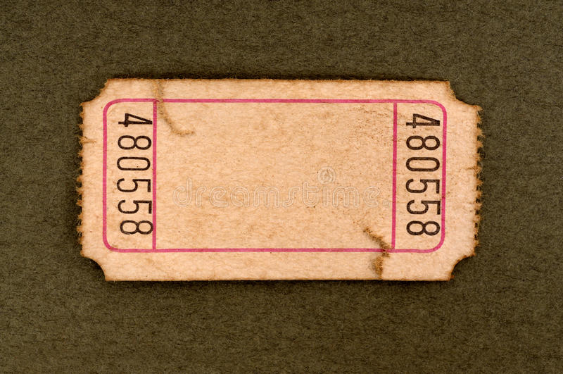 Λεκιασμένο κενό εισιτήριο αποδοχής στοκ εικόνα με δικαίωμα ελεύθερης χρήσης