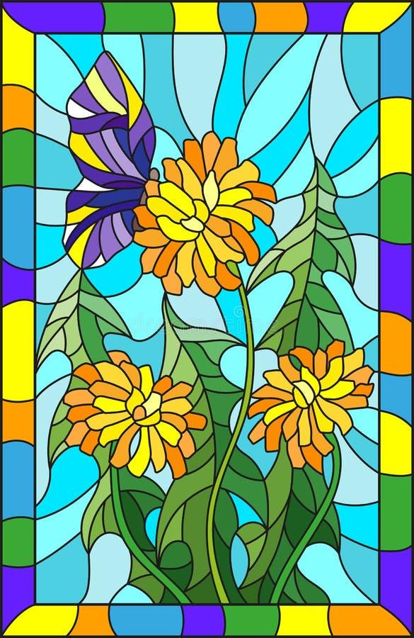 Λεκιασμένο λουλούδι απεικόνισης γυαλιού Taraxacum και της πεταλούδας σε ένα μπλε υπόβαθρο σε ένα φωτεινό πλαίσιο απεικόνιση αποθεμάτων