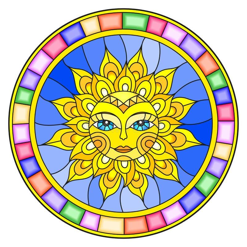 Λεκιασμένο παράθυρο απεικόνισης γυαλιού με τον αφηρημένο ήλιο στο φωτεινό πλαίσιο, στρογγυλή εικόνα ελεύθερη απεικόνιση δικαιώματος