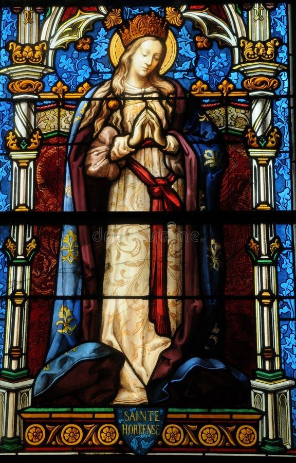 Λεκιασμένο παράθυρο γυαλιού της εκκλησίας Vigny στοκ φωτογραφίες με δικαίωμα ελεύθερης χρήσης