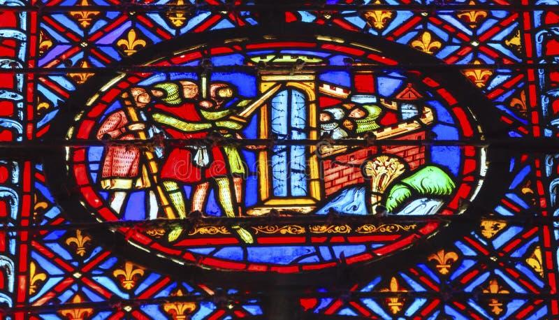 Λεκιασμένο σταυροφορία γυαλί Sainte Chapelle Παρίσι πολιορκίας του Castle ιπποτών στοκ φωτογραφίες με δικαίωμα ελεύθερης χρήσης