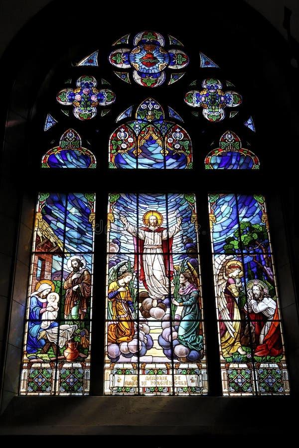 λεκιασμένο petropolis παράθυρο γυαλιού καθεδρικών ναών στοκ εικόνα