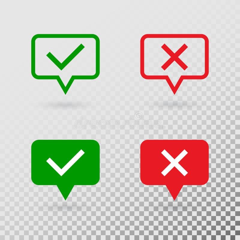 Λεκτικές φυσαλίδες με τα σημάδια ελέγχου Επίπεδα σύγχρονα σύμβολα πράσινων κροτώνων και Ερυθρών Σταυρών που απομονώνονται στο δια διανυσματική απεικόνιση