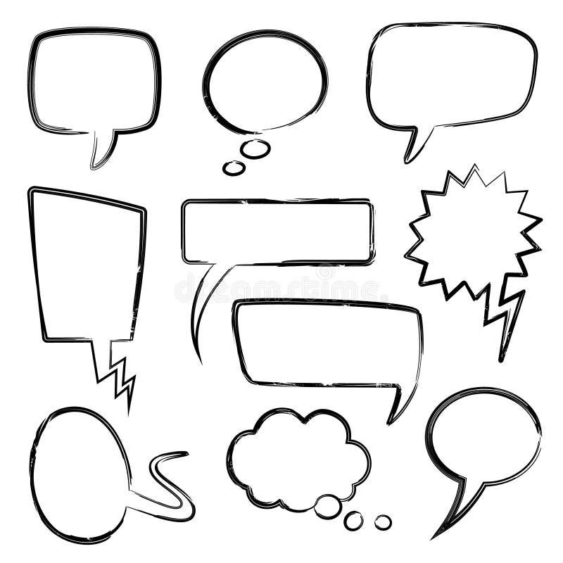 Λεκτικές φυσαλίδες σκίτσων Στοιχεία φυσαλίδων μηνυμάτων Doodle, μπαλόνια σκέψης με τη σύσταση μολυβιών κακογραφίας Απομονωμένα κι διανυσματική απεικόνιση