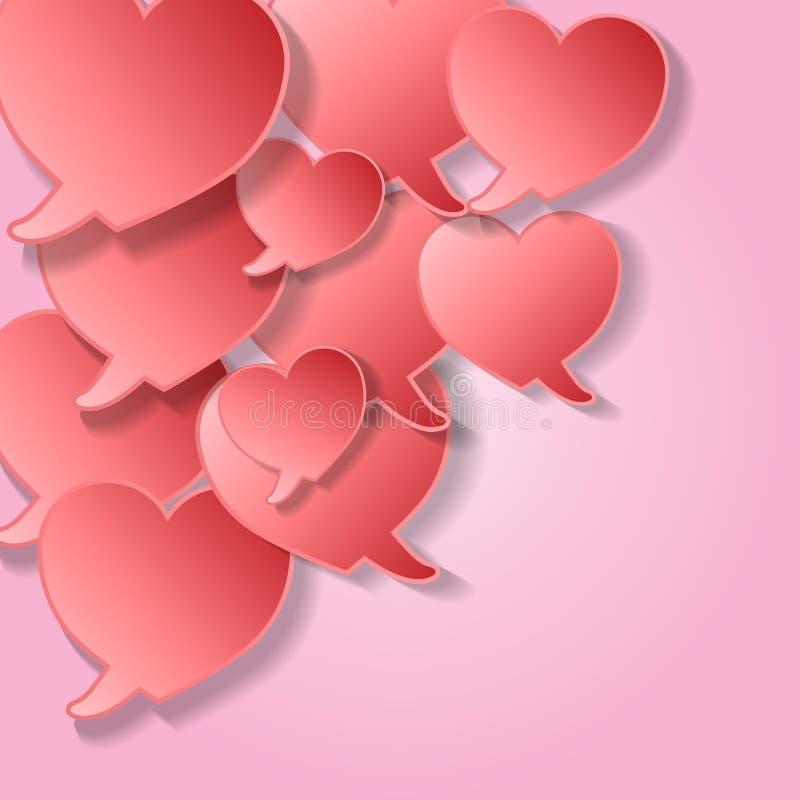 Λεκτικές φυσαλίδες με τις καρδιές ελεύθερη απεικόνιση δικαιώματος