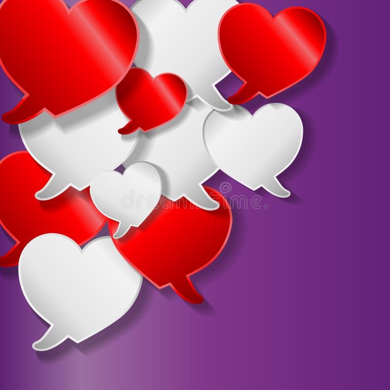 Λεκτικές φυσαλίδες με τις καρδιές απεικόνιση αποθεμάτων