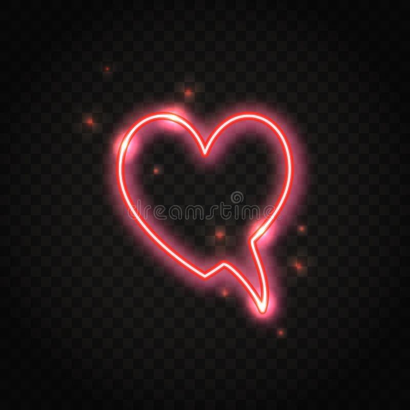 Λεκτική φυσαλίδα καρδιών νέου κόκκινη με το διάστημα για το κείμενο ελεύθερη απεικόνιση δικαιώματος