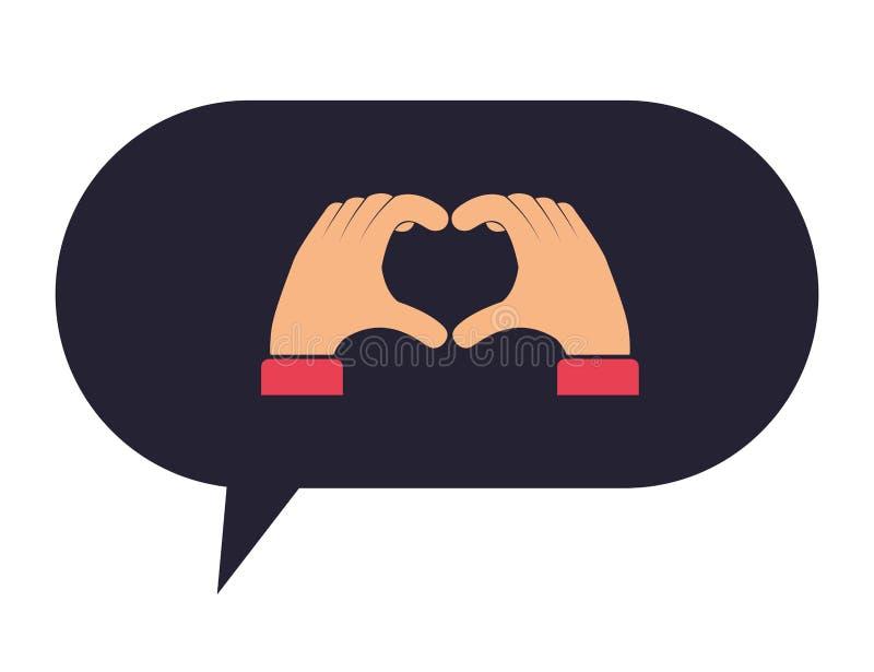 Λεκτική φυσαλίδα με τα χέρια που παίρνουν την καρδιά διανυσματική απεικόνιση