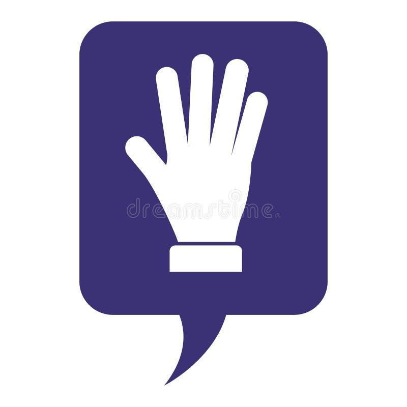 Λεκτική φυσαλίδα με τη στάση χεριών ελεύθερη απεικόνιση δικαιώματος