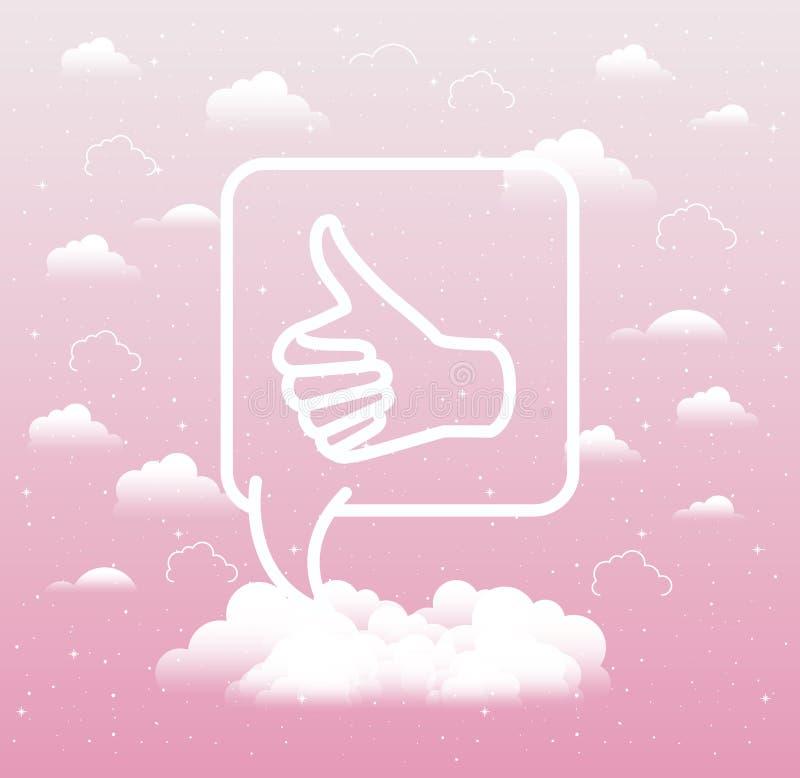 Λεκτική φυσαλίδα με το χέρι όπως το εικονίδιο τάσης απεικόνιση αποθεμάτων