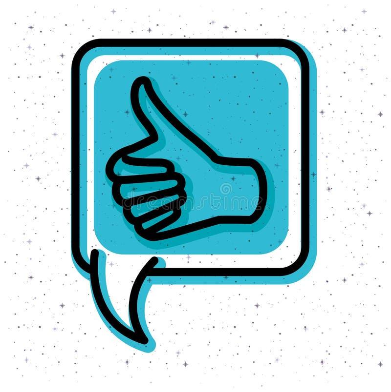 Λεκτική φυσαλίδα με το χέρι όπως το εικονίδιο τάσης ελεύθερη απεικόνιση δικαιώματος
