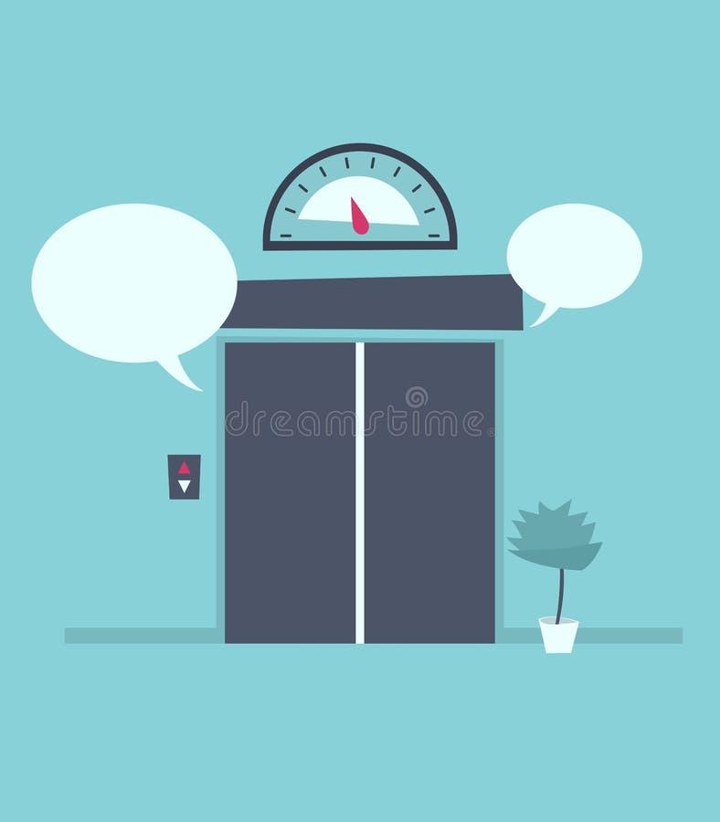 Λεκτική φυσαλίδα κοντά στις κλειστές πόρτες ανελκυστήρων ελεύθερη απεικόνιση δικαιώματος