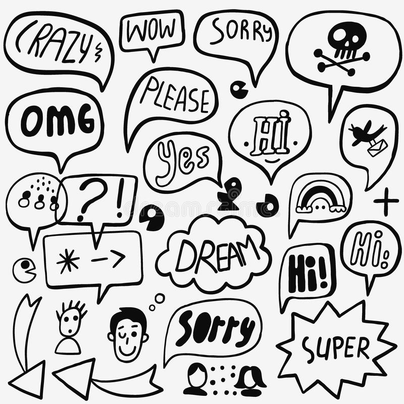 Λεκτική φυσαλίδα doodles ελεύθερη απεικόνιση δικαιώματος