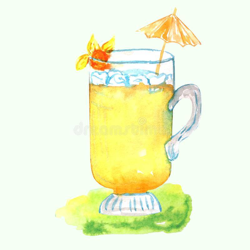 Λεμονάδα σε ένα φλυτζάνι γυαλιού με τον πάγο, Physalis και μια ομπρέλα ελεύθερη απεικόνιση δικαιώματος