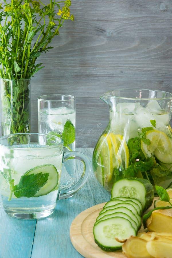 Λεμονάδα και συστατικά πιπεροριζών - πιπερόριζα, λεμόνι, ασβέστης, μέντα, πάγος στοκ εικόνα με δικαίωμα ελεύθερης χρήσης