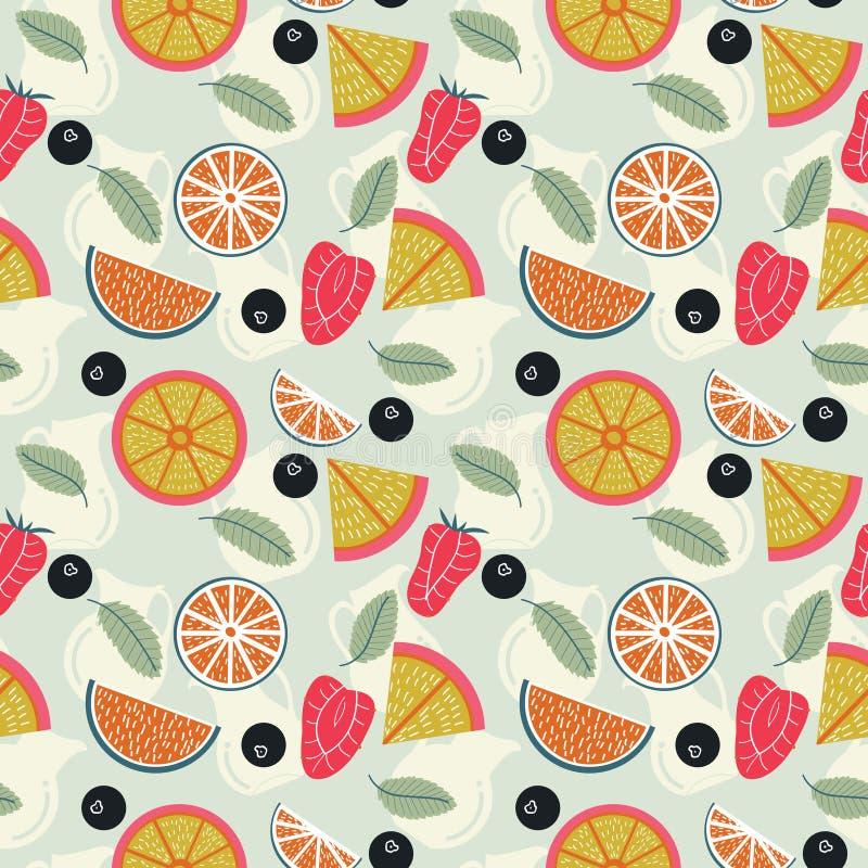 Λεμονάδα φρούτων με το άνευ ραφής σχέδιο σταμνών απεικόνιση αποθεμάτων