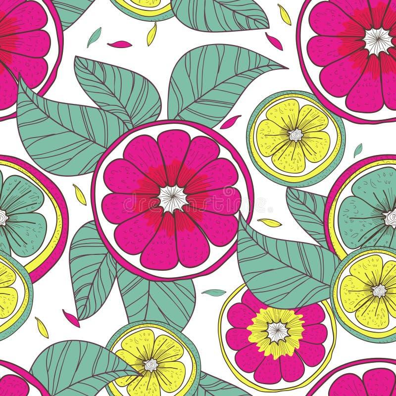 Λεμόνια και λουλούδια ελεύθερη απεικόνιση δικαιώματος