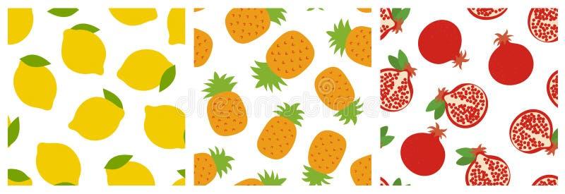 Λεμόνι, ανανάς και γρανάτης Άνευ ραφής σύνολο σχεδίων φρούτων Σχέδιο μόδας Τυπωμένη ύλη τροφίμων για τα ενδύματα, linens ή την κο διανυσματική απεικόνιση