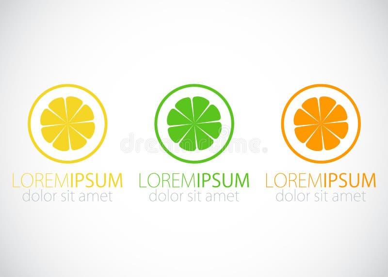 Λεμόνι, ασβέστης και πορτοκάλι - σημάδι λογότυπων απεικόνιση αποθεμάτων