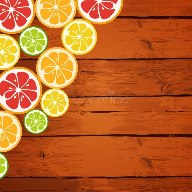 Λεμόνι, ασβέστης, πορτοκάλι και γκρέιπφρουτ στο ξύλινο υπόβαθρο απεικόνιση αποθεμάτων