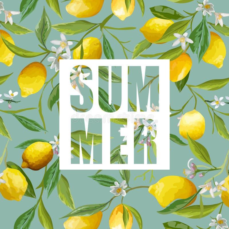 Λεμόνι, λουλούδια και φύλλα Διανυσματική ανασκόπηση Εξωτικός γραφικός διανυσματική απεικόνιση