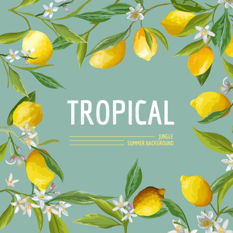 Λεμόνι, λουλούδια και φύλλα Εξωτικό γραφικό τροπικό έμβλημα διανυσματική απεικόνιση