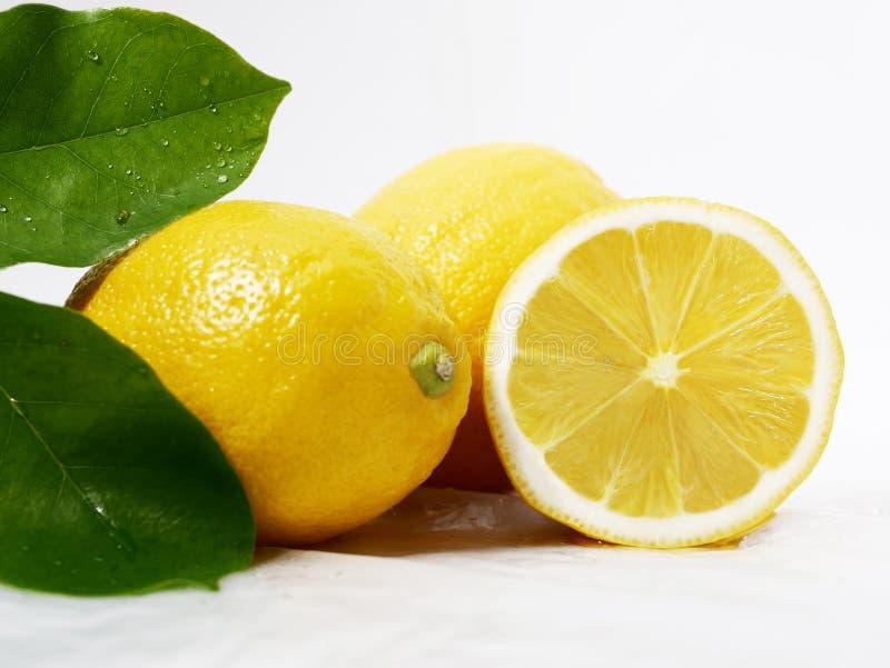 Λεμόνι φρέσκο με το φύλλο για την εικόνα φρούτων στοκ φωτογραφία με δικαίωμα ελεύθερης χρήσης