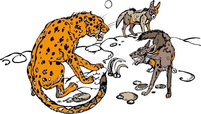 Λεοπάρδαλη και hyena στοκ εικόνα