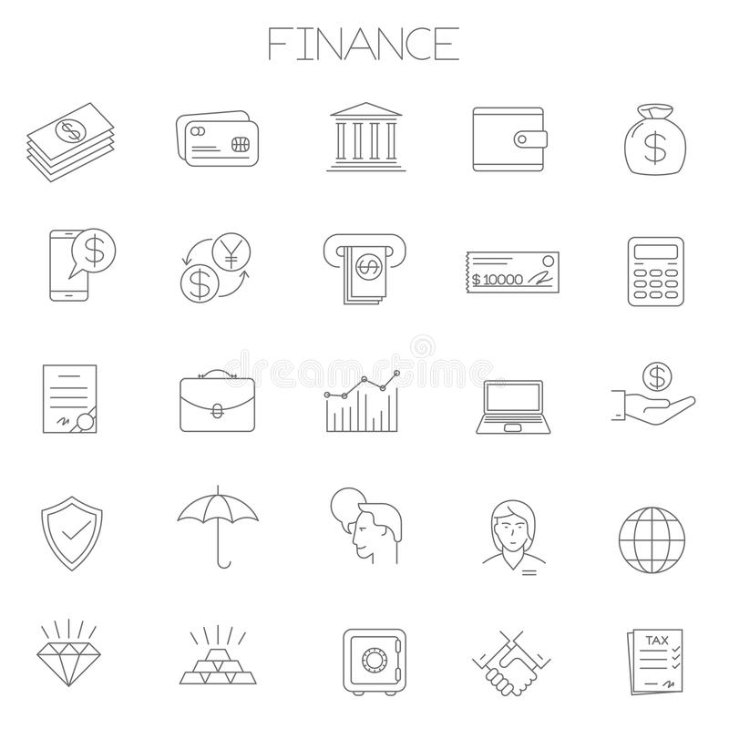 Λεπτά διανυσματικά σε απευθείας σύνδεση επιχείρηση γραμμών και σύνολο εικονιδίων χρηματοδότησης ελεύθερη απεικόνιση δικαιώματος