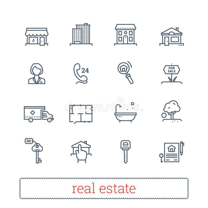 Λεπτά εικονίδια γραμμών ακίνητων περιουσιών Σημάδια μίσθωσης, ενοικίασης, αγοράς και πώλησης realty Σύγχρονα γραμμικά διανυσματικ διανυσματική απεικόνιση
