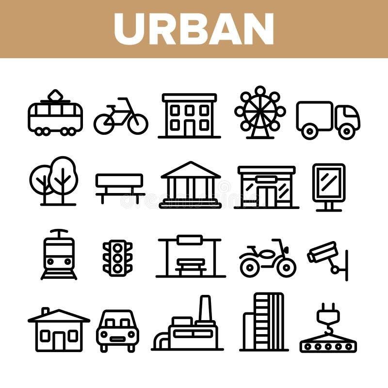 Λεπτά εικονίδια γραμμών αστικής, ζωής πόλεων καθορισμένα διανυσματική απεικόνιση