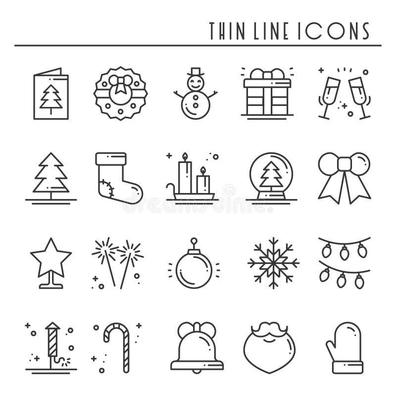 Λεπτά εικονίδια γραμμών διακοπών Χριστουγέννων καθορισμένα Νέα συλλογή περιλήψεων εορτασμού έτους απεικόνιση αποθεμάτων