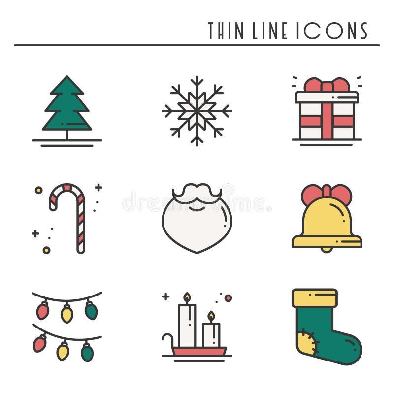 Λεπτά εικονίδια γραμμών διακοπών Χριστουγέννων καθορισμένα Νέα συλλογή περιλήψεων εορτασμού έτους Βασικά χειμερινά στοιχεία Χριστ διανυσματική απεικόνιση