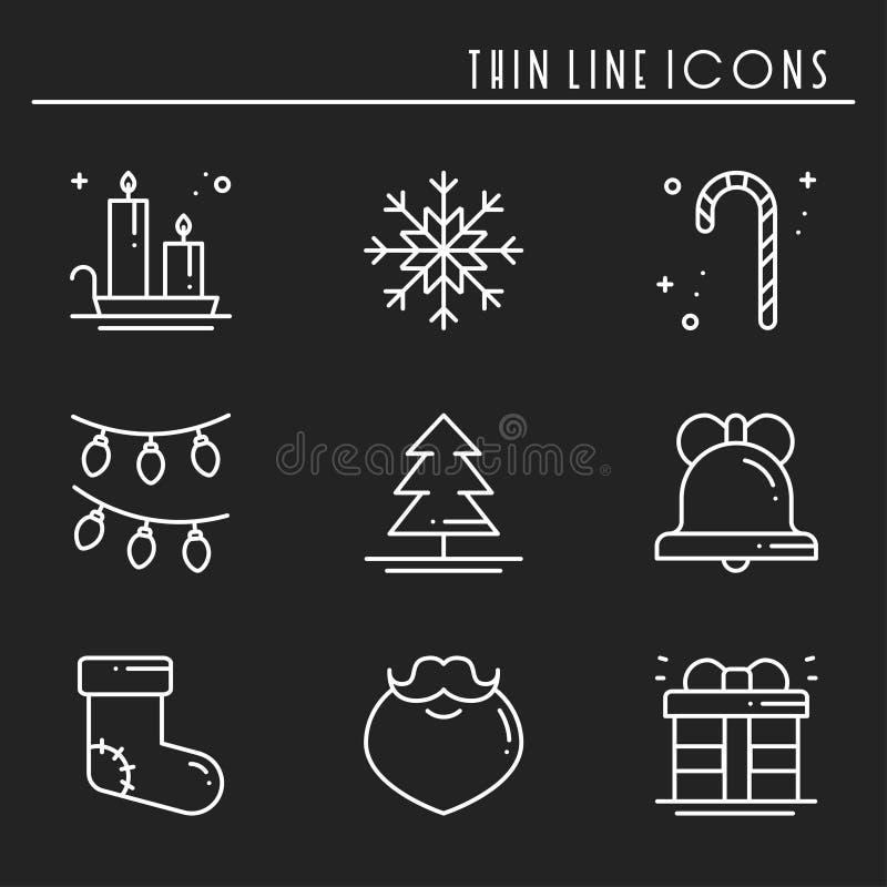 Λεπτά εικονίδια γραμμών διακοπών Χριστουγέννων καθορισμένα Νέα συλλογή περιλήψεων εορτασμού έτους Βασικά χειμερινά στοιχεία Χριστ ελεύθερη απεικόνιση δικαιώματος