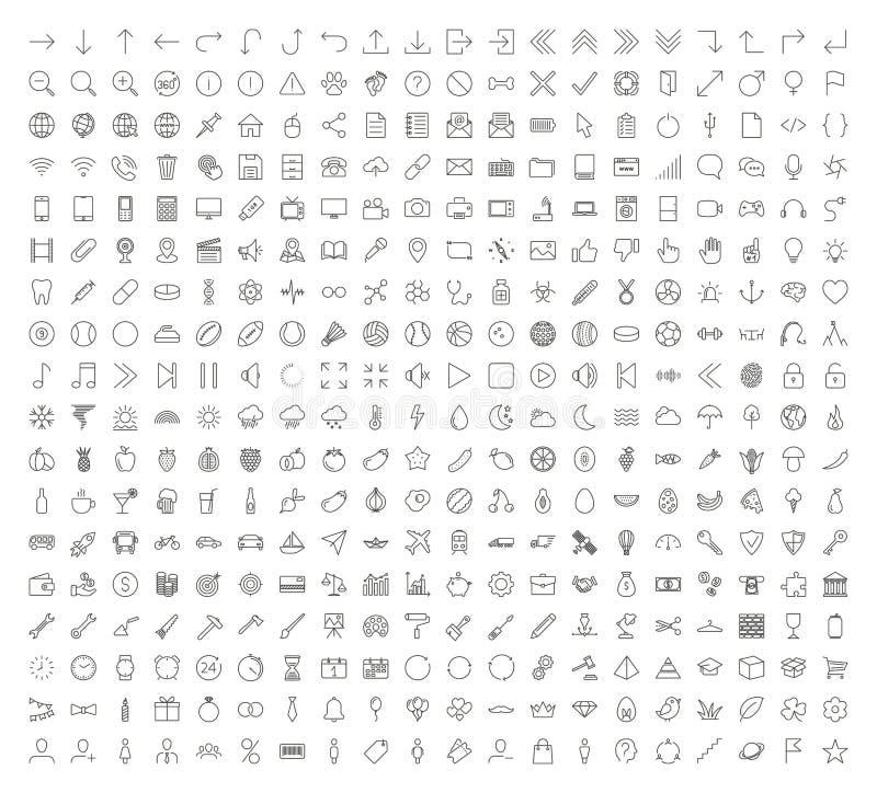 Λεπτά εικονίδια γραμμών καθορισμένα διανυσματικά Διαδίκτυο, επιχείρηση, βέλος σύμβολα ελεύθερη απεικόνιση δικαιώματος