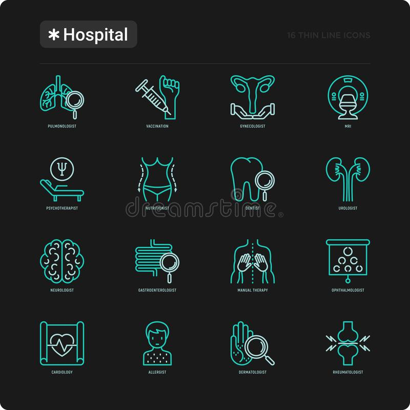 Λεπτά εικονίδια γραμμών νοσοκομείων καθορισμένα διανυσματική απεικόνιση