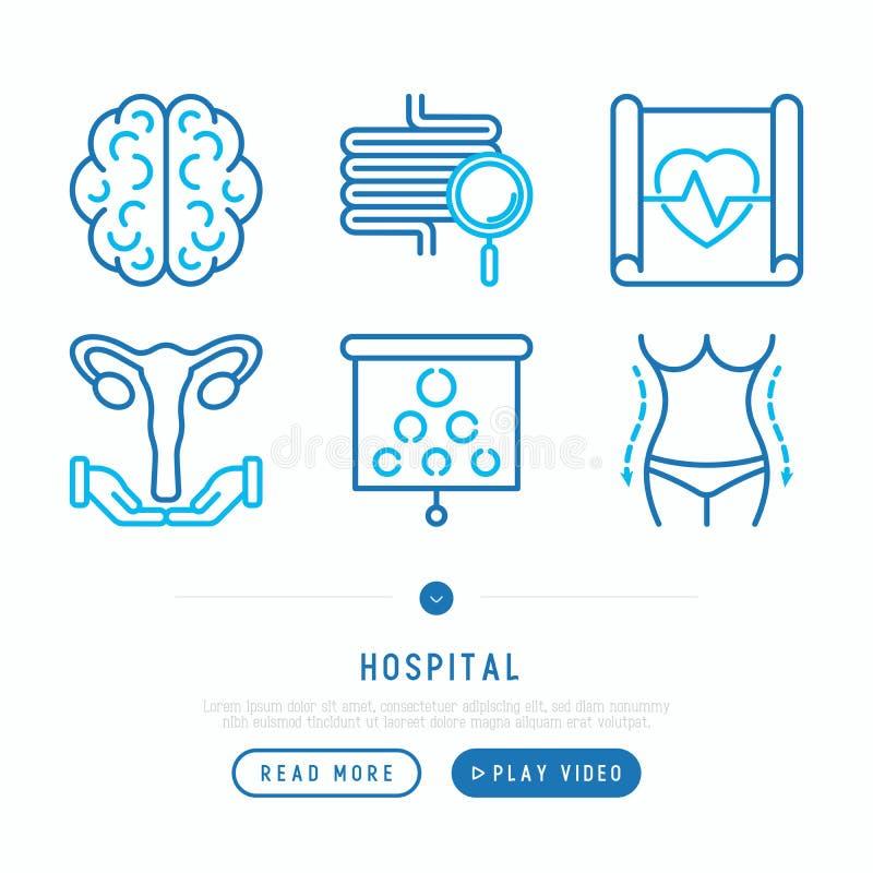 Λεπτά εικονίδια γραμμών νοσοκομείων καθορισμένα ελεύθερη απεικόνιση δικαιώματος