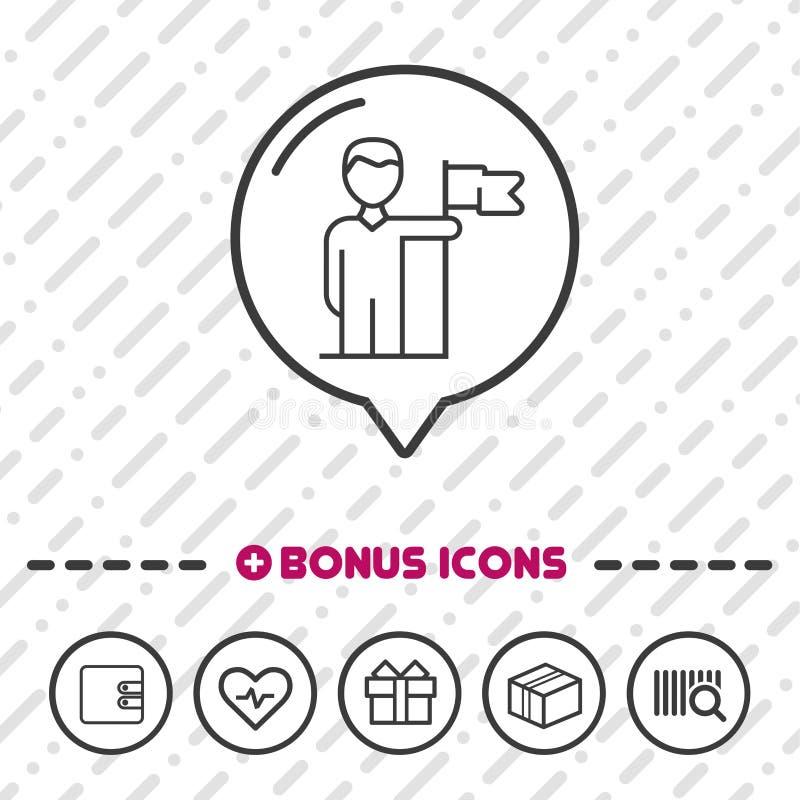 Λεπτά εικονίδια επιδομάτων γραμμών εικονιδίων επιχειρηματιών ηγετών Eps10 διάνυσμα ελεύθερη απεικόνιση δικαιώματος