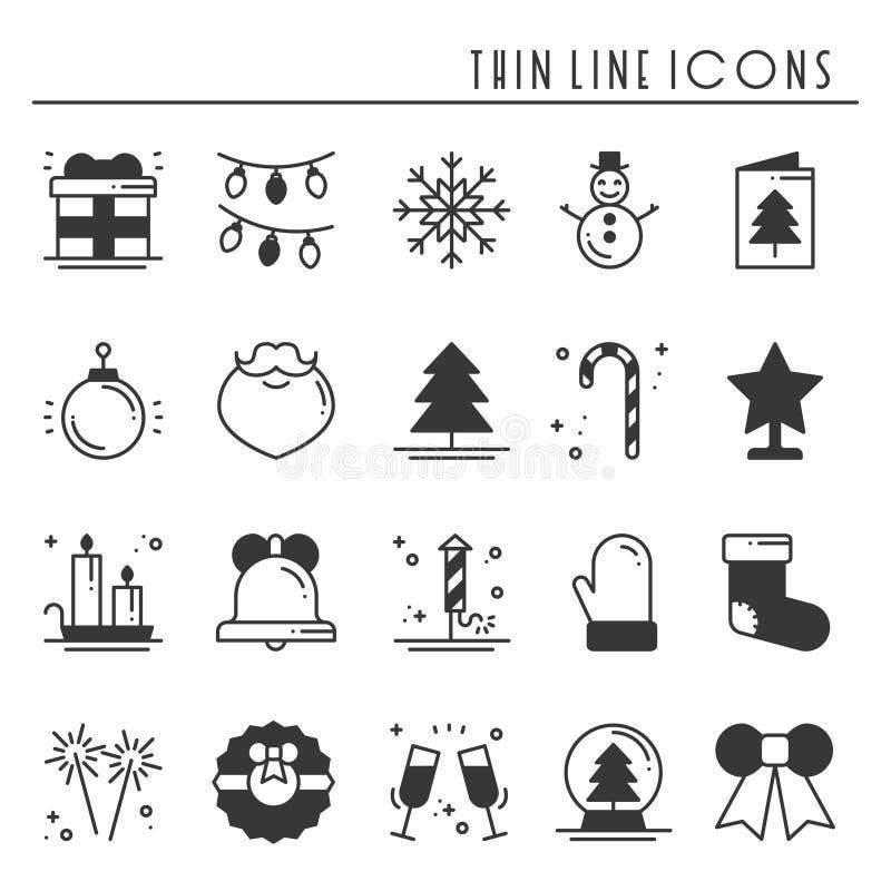 Λεπτά εικονίδια σκιαγραφιών γραμμών διακοπών Χριστουγέννων καθορισμένα Νέα συλλογή περιλήψεων εορτασμού έτους Βασικά χειμερινά στ απεικόνιση αποθεμάτων