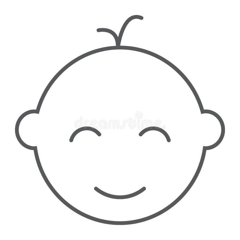 Λεπτά εικονίδιο γραμμών αγοράκι, μωρό και παιδί, σημάδι προσώπου, διανυσματική γραφική παράσταση, ένα γραμμικό σχέδιο σε ένα άσπρ απεικόνιση αποθεμάτων