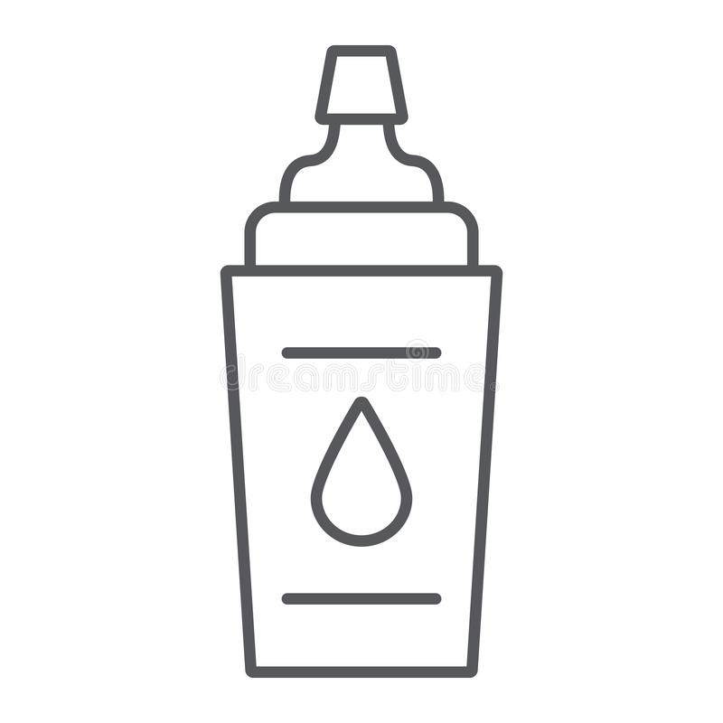Λεπτά εικονίδιο γραμμών αθλητικών μπουκαλιών, ικανότητα και ποτό, σημάδι μπουκαλιών νερό, διανυσματική γραφική παράσταση, ένα γρα απεικόνιση αποθεμάτων