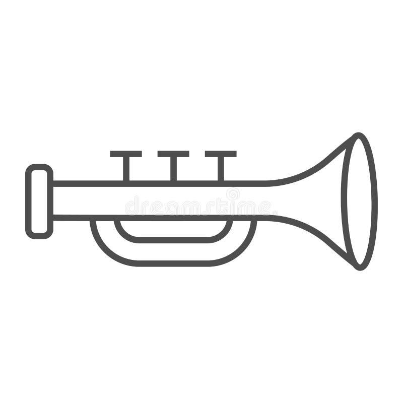 Λεπτά εικονίδιο γραμμών σαλπίγγων, μουσικός και όργανο, σημάδι σαλπίγγων, διανυσματική γραφική παράσταση, ένα γραμμικό σχέδιο σε  ελεύθερη απεικόνιση δικαιώματος