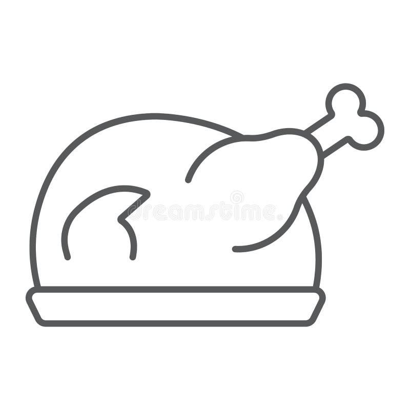 Λεπτά εικονίδιο γραμμών της Τουρκίας ψητού, κρέας και τρόφιμα, σημάδι κοτόπουλου, διανυσματική γραφική παράσταση, ένα γραμμικό σχ διανυσματική απεικόνιση