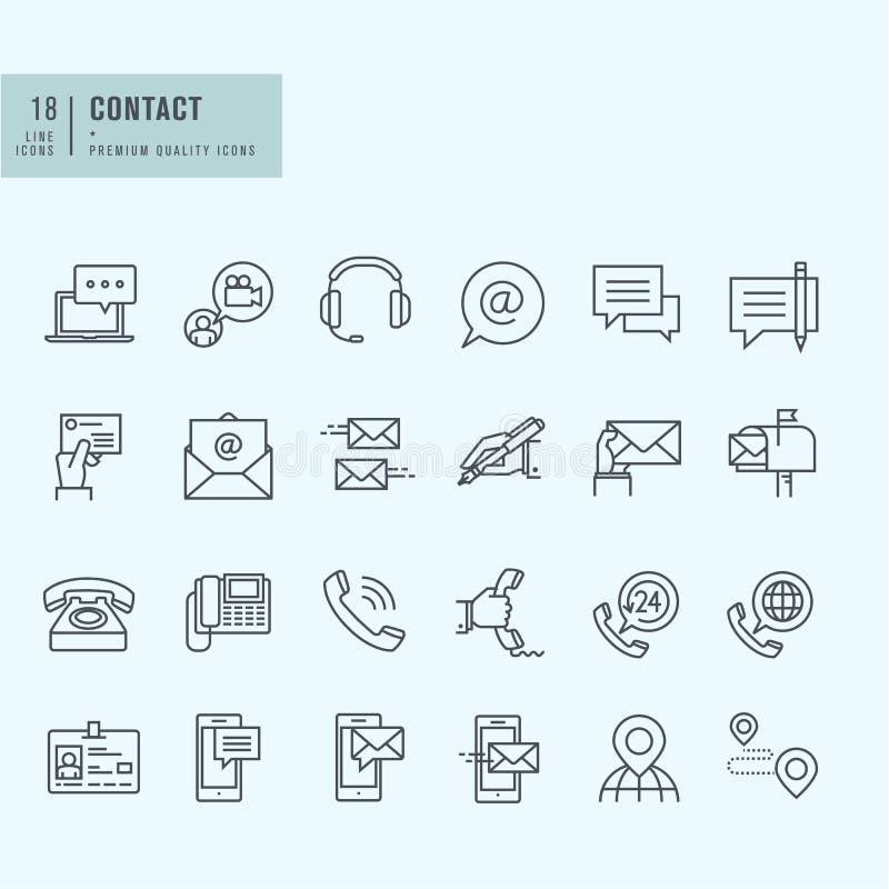 Λεπτά εικονίδια γραμμών καθορισμένα Εικονίδια για την επικοινωνία διανυσματική απεικόνιση
